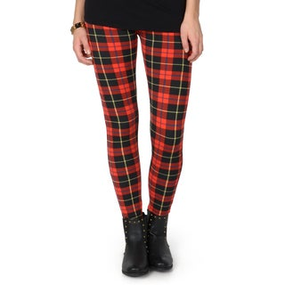 Hailey Jeans Co. Junior's Plaid Print Fleece Leggings
