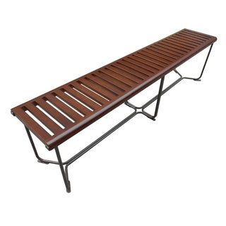 Solid Brown Wooden Bench