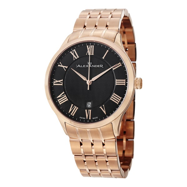 Alexander Men's A103B-04 'Triumph' Black Dial Rose Goldtone Stainless Steel Swiss Quartz Statesman Watch