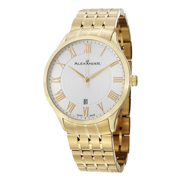Alexander Men's A103B-03 'Triumph' Silver Dial Yellow Goldtone Stainless Steel Swiss Quartz Statesman Watch