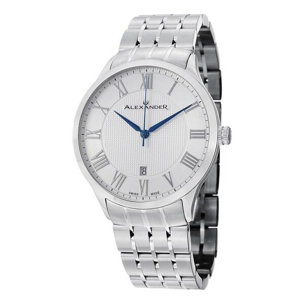 Alexander Men's A103B-01 'Triumph' Silver Dial Stainless Steel Bracelet Swiss Quartz Statesman Watch