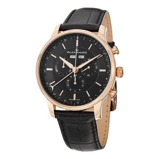 Alexander Men's A101-04 'Chieftain' Black Dial Black Leather Strap Rose Goldtone Chronograph Quartz Statesman Watch
