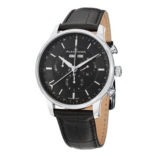 Alexander Men's A101-02 'Chieftain' Black Dial Black Leather Strap Chronograph Swiss Quartz Statesman Watch