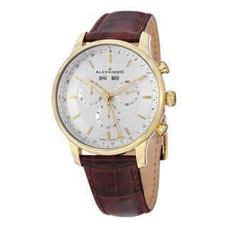 Alexander Men's A101-03 'Chieftain' Silver Dial Brown Leather Strap Goldtone Chronograph Swiss Quartz Statesman Watch