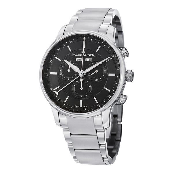 Alexander Men's A101B-02 'Chieftain' Black Dial Stainless Steel Chronograph Swiss Quartz Statesman Watch