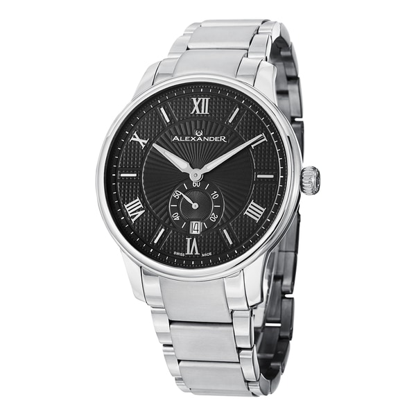 Alexander Men's A102B-02 'Regalia' Black Dial Stainless Steel Bracelet Swiss Quartz Statesman Watch