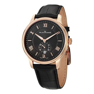 Alexander Men's A102-04 'Regalia' Black Dial Black Leather Strap Rose Goldtone Swiss Quartz Statesman Watch