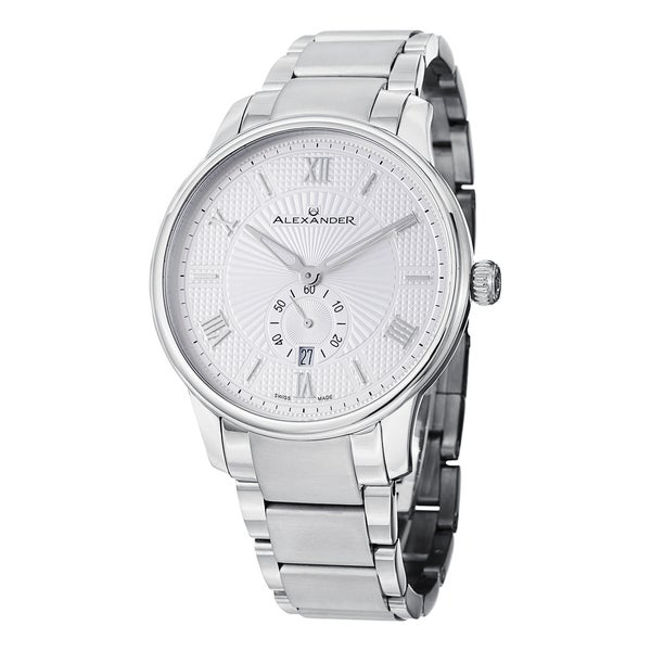 Alexander Men's A102B-01 'Regalia' Silver Dial Stainless Steel Bracelet Swiss Quartz Statesman Watch
