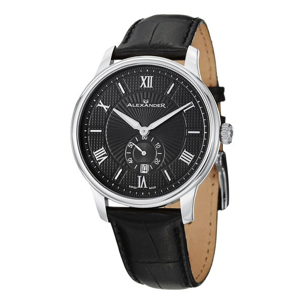 Alexander Men's A102-02 'Regalia' Black Dial Black Leather Strap Swiss Quartz Statesman Watch
