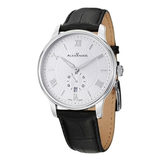Alexander Men's A102-01 'Regalia' Silver Dial Black Leather Strap Swiss Quartz Statesman Watch