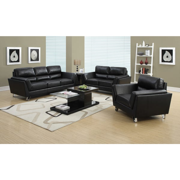 Black Bonded Leather Match Chair