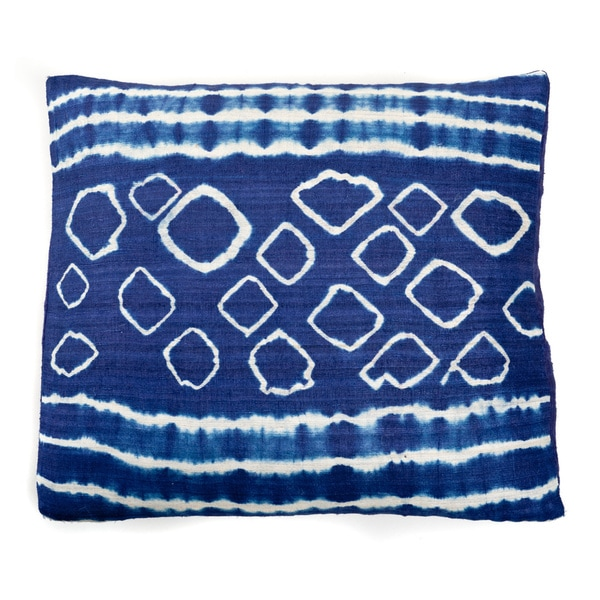 Trendsage Dinosaur Block Printed Indigo Blue Silk Sqaure Accent Pillow