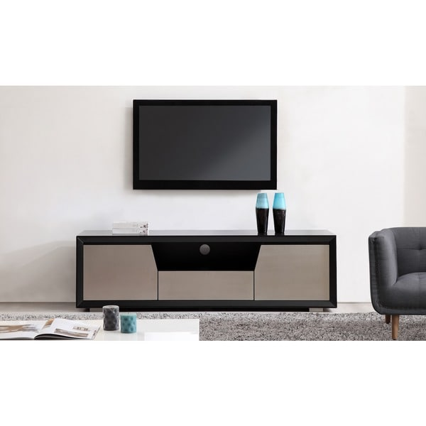 Element Matte Black/Stainless Steel TV Stand