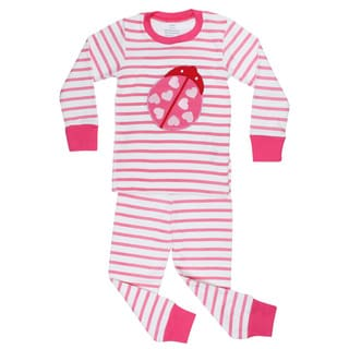Elowel Girls' Striped Ladybug 2-piece Pajama Set
