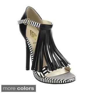 Athena Melisa-1 Women's Tassel Ankle Strap Stiletto Heels
