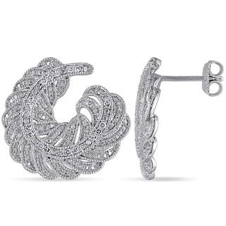 Miadora Sterling Silver 1/5ct TDW Diamond Leaf Earrings (G-H, I2-I3)