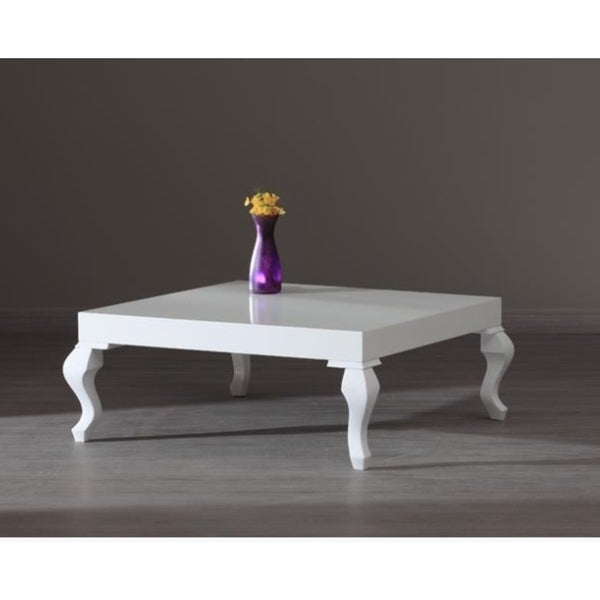 Lukens White Lacquer Contemporary Coffee Table 16937219 Overstock