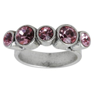 Silvertone Alternating Sized Pink Crystal Ring - Size 6.75