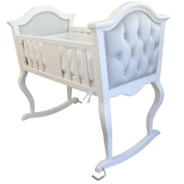 Lola Upholstered Jewel Tufted Grey/ White Rocking Cradle