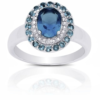 Dolce Giavonna Sterling Silver London Blue Topaz Diamond Accent Ring