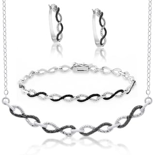 Finesque Sterling Silver Black Diamond Accent Infinity Design Jewelry Set
