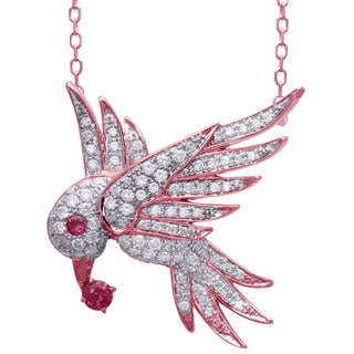 Beverly Hills Charm 14k Rose Gold 5/8ct TDW Diamonds and Pink Sapphire Bird Necklace (H-I, I2-I3)