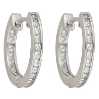 Sterling Silver Cubic Zirconia Single Stand In and Out Micropave Hoop Earrings