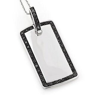 14k White Gold 1 1/10ct TDW Black Diamonds Dog Tag Pendant