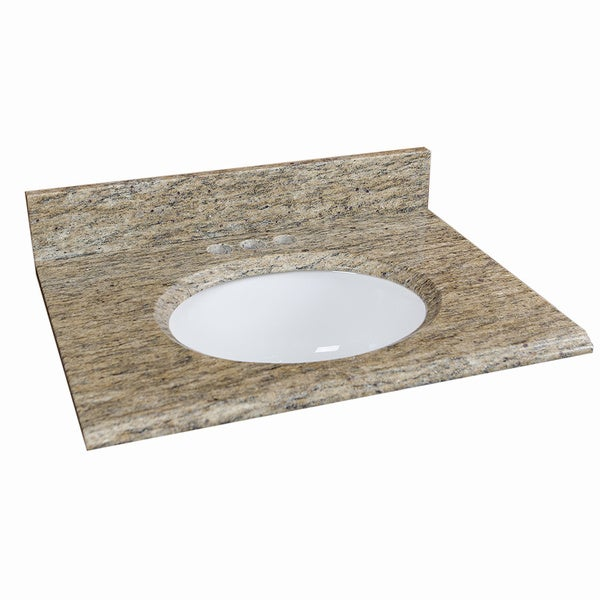 25 x 19-inch Giallo Cecilia Granite Vanity Top with Oval Bowl and Back Splash