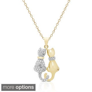 Finesque Silver or Gold-plated Diamond Accent Cat Necklace