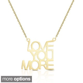 Dolce Giavonna Sterling Silver 'Love You More' Necklace