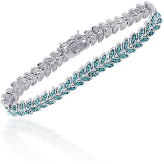 Finesque Silver Overlay Blue Diamond Accent Leaf Bracelet