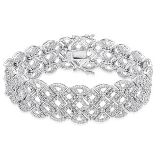 Finesque Silver Overlay 1/2ct TDW Diamond Lattice Bracelet (I-J, I2-I3)