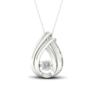 De Couer 10k White Gold 1/30ct TDW Diamond Accent 'Heart Beat' Pendant