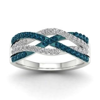 De Couer 10k White Gold 1/2ct TDW Blue Diamond Criss-cross Fashion Ring (H-I, I1-I2)