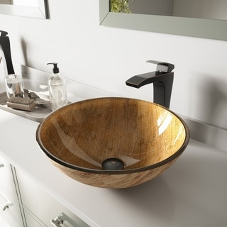 VIGO Amber Sunset Glass Vessel Sink and Duris Faucet Set in Antique Rubbed Bronze Finish