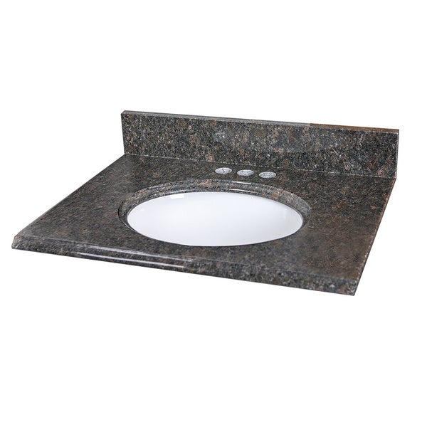25 x 19-inch Tan Brown Granite Vanity Top With Oval Bowl and Back Splash