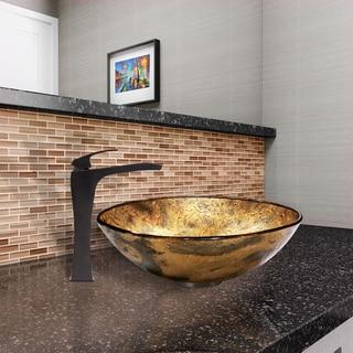 VIGO Copper Shapes Glass Vessel Sink and Blackstonian Faucet Set in Antique Rubbed Bronze Finish