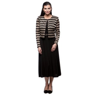 Jessica Howard Women's Black and Gold Beaded Jacket and Dress Set