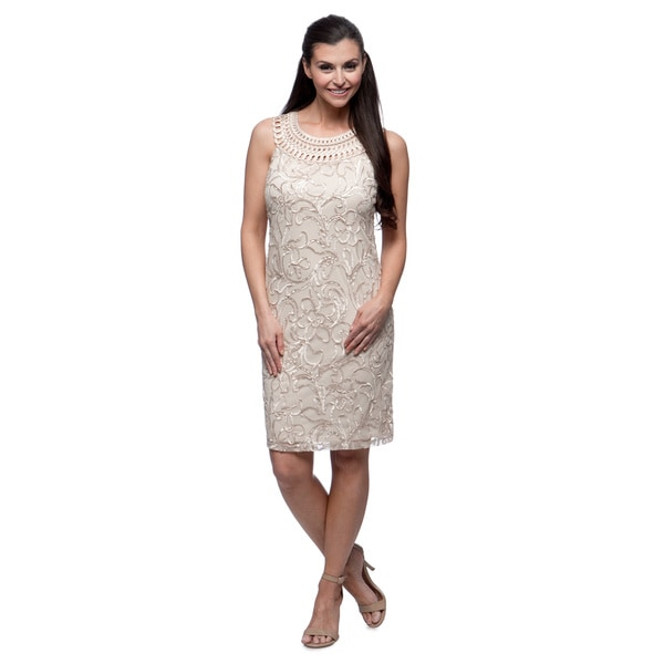 Jessica Howard Women's Champagne Floral Embroidered Sleeveless Dress