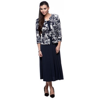 Jessica Howard Women's Navy and Ivory Jacket and Maxi Dress Set