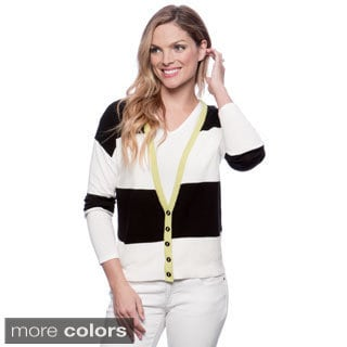 August Silk Women's Wide Stripe Colorblocked Cardigan
