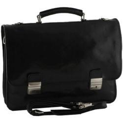 Alberto Bellucci Firenze Double Compartment Briefcase Black
