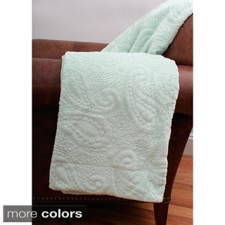 Arielle Paisley Embroidered Fleece Throw