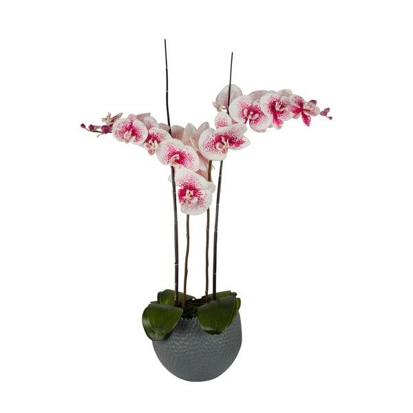 Pink Spotted Orchid/ Bamboo Artificial Floral Arrangement