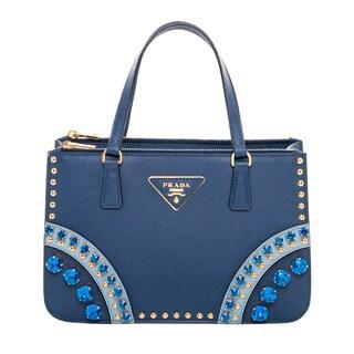 Prada Blue Saffiano Leather Embellished Mini Tote