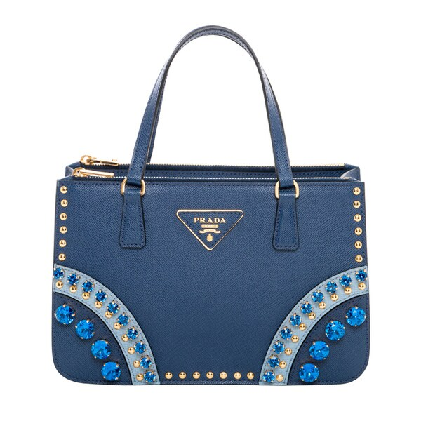 Prada Blue Saffiano Leather Embellished Mini Tote