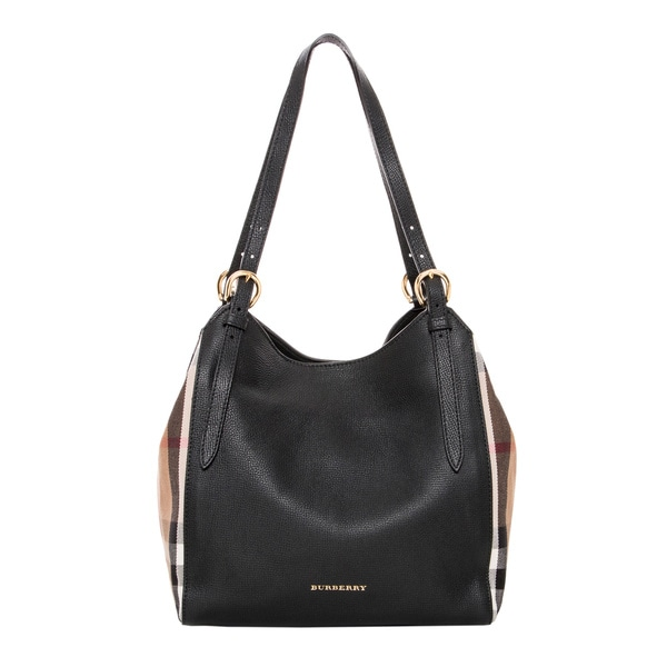 Burberry Black Leather Beige House Check Small Canter Bag