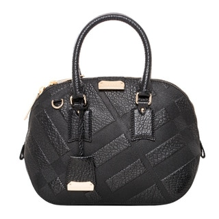 Burberry Small Orchard Black Embossed Check Leather Handbag