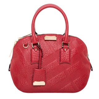 Burberry Small Orchard Red Embossed Check Leather Handbag